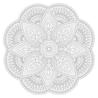 Création créative de mandala ethnique, élément décoratif vintage avec des ornements floraux pour le livre à colorier.