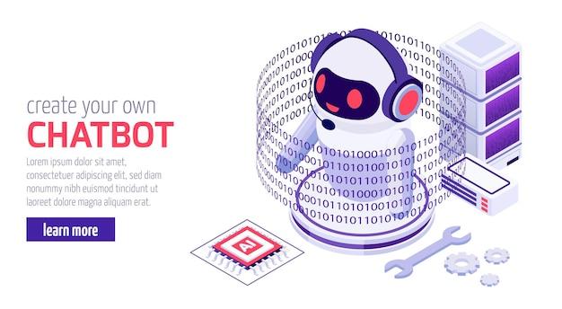 Création et développement de votre propre chatbot messenger privé ou professionnel avec une bannière isométrique d'exemple de code