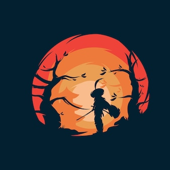 Création du logo du guerrier samouraï