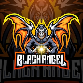 Création du logo de la mascotte black angel esport