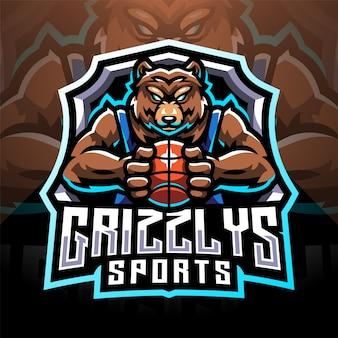 Création du logo de la mascotte grizzlys esport