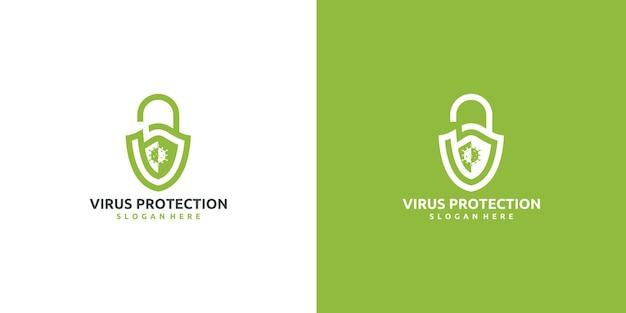 Création du logo de protection contre les bactéries contre les épidémies du virus corona