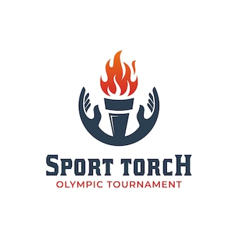 Création du logo de la torche de la cérémonie d'ouverture ou du succès de la célébration olympique avec le symbole des éléments de la main