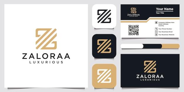 Création du modèle de logo abstrait lettre initiale z et conception de carte de visite