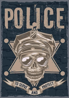 Création d'étiquettes d'affiche avec illustration du crâne dans un chapeau de police et des lunettes de soleil