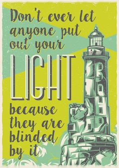 Création d'étiquettes d'affiche avec le vieux phare.