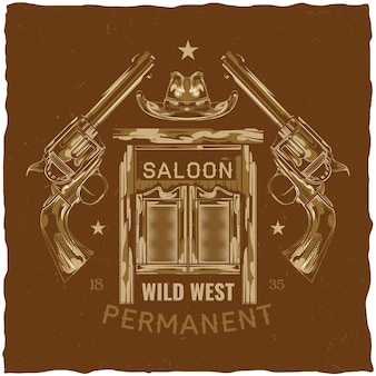 Création d & # 39; étiquettes avec illustration de salon, chapeau et pistolets