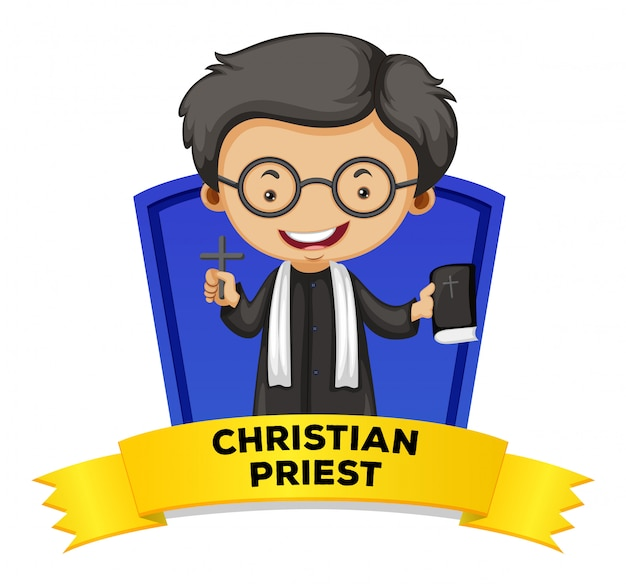 Création d'étiquettes avec un prêtre chrétien