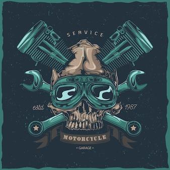 Création d'étiquettes de t-shirt avec illustration du crâne mécanique