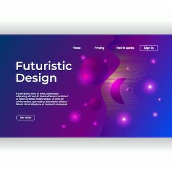 Création futuriste du design de la page de destination