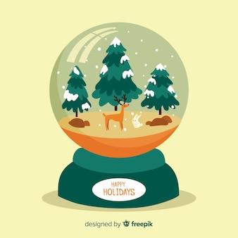 Création de globe de boule de neige plate créative