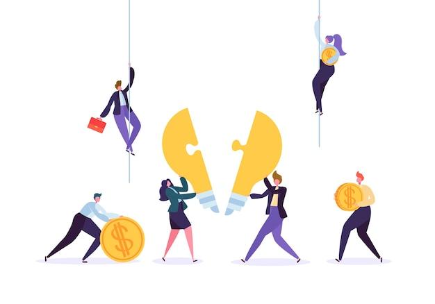 Création d'idée, travail d'équipe, concept d'innovation commerciale. équipe de personnages de gens d'affaires travaillant à collecter des pièces de puzzle d'ampoule.