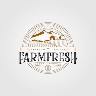 Création d'illustration de logo de produit biologique frais de ferme vintage