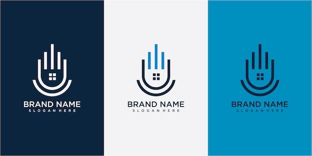 Création initiale lettre u immobilier icône logo design illustration vectorielle. création de logo immobilier u