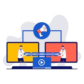 Création de liens, référencement, stratégie de backlink, liens entrants, concept avec des personnages. deux moniteurs sont reliés par une chaîne.