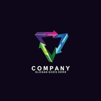 Création de logo 3d flèches et triangle