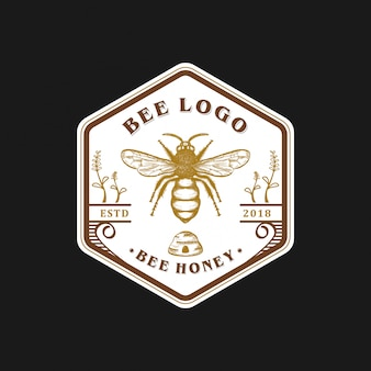 Création de logo abeille vintage