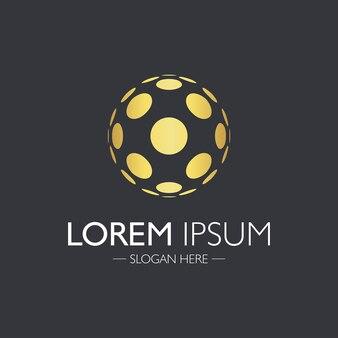 Création de logo abstrait créatif. élément de l'atome d'or.