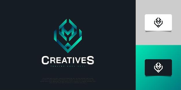 Création de logo abstrait lettre initiale h et v en dégradé bleu. modèle de conception de logo monogramme hv. symbole de l'alphabet graphique pour l'identité d'entreprise