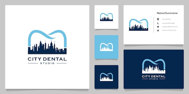 Création de logo abstrait de ligne dentaire ville skyline avec carte de visite