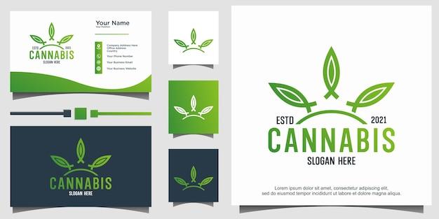Création de logo abstrait marijuana cannabis ganja