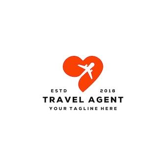 Création de logo d'agent de voyage d'amour créatif