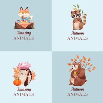Création De Logo Avec Un Animal D'automne Dans Un Style Aquarelle Vecteur Premium