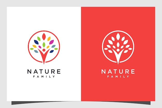 Création de logo d'arbre avec concept humain de famille vecteur premium partie 1