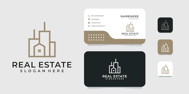 Création de logo d'architecture de bâtiment avec modèle de carte de visite.