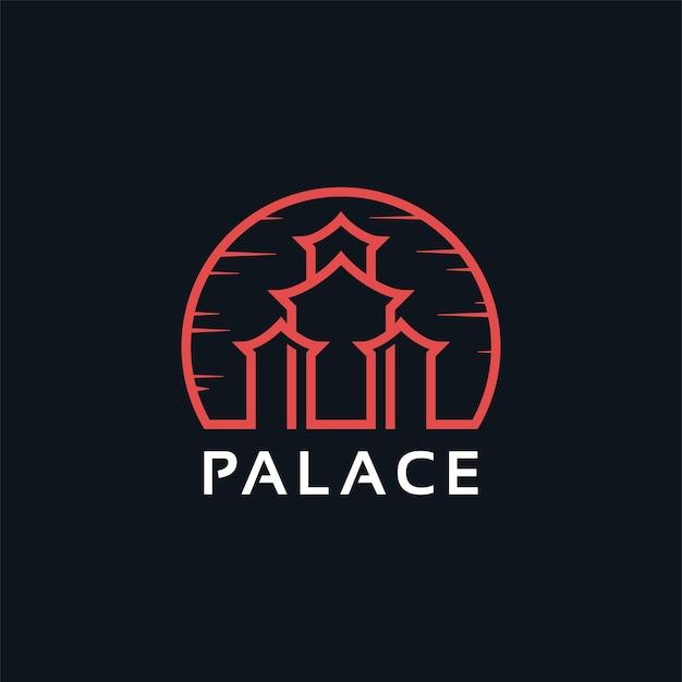 Création de logo d'architecture de palais asiatique traditionnel