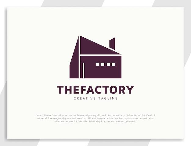 Création de logo d'architecture d'usine de bâtiment industriel