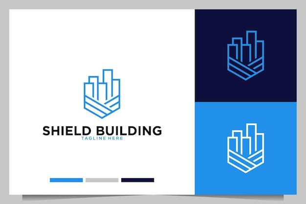 Création de logo d'art de ligne de bâtiment de bouclier