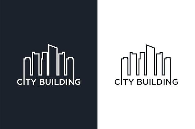 Création de logo d'art de ligne de bâtiment de ville