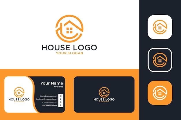 Création de logo d'art de ligne de cercle de maison et carte de visite