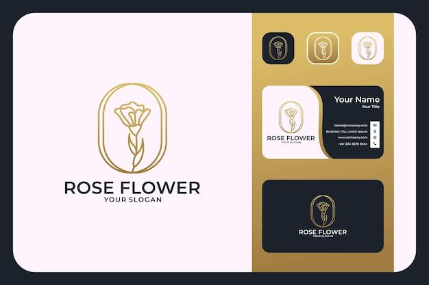 Création de logo d'art de ligne de fleur rose de luxe et carte de visite
