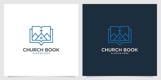 Création de logo d'art de ligne de livre d'église