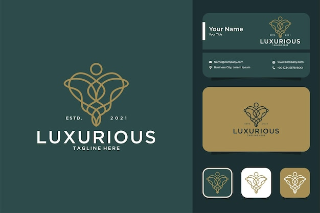 Création de logo d'art de ligne luxueuse et carte de visite