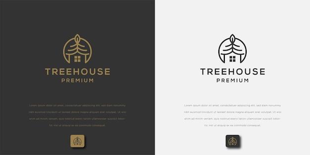Création de logo d'art de ligne de maison d'arbre