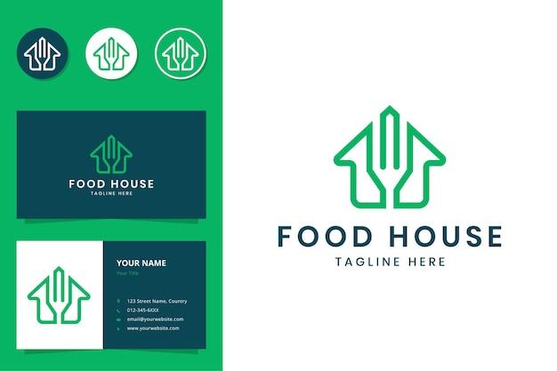 Création de logo d'art de ligne de maison de nourriture