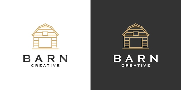 Création de logo d'art de ligne minimaliste de ferme de grange