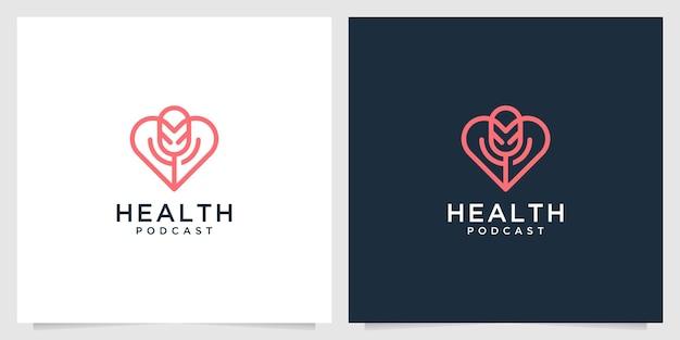 Création de logo d'art de ligne de podcast de santé