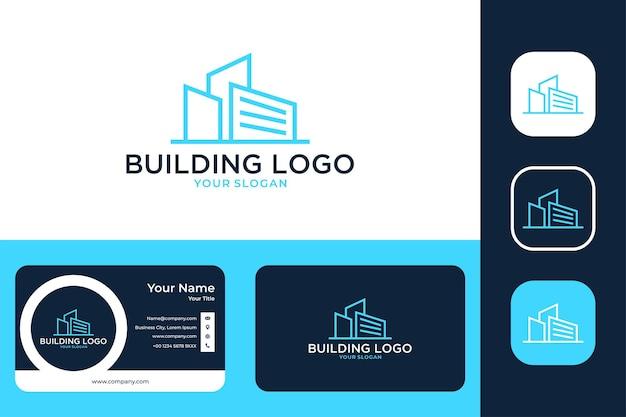 Création de logo d'art de ligne de ville de bâtiment moderne et carte de visite