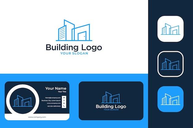 Création de logo d'art de ligne de ville et carte de visite