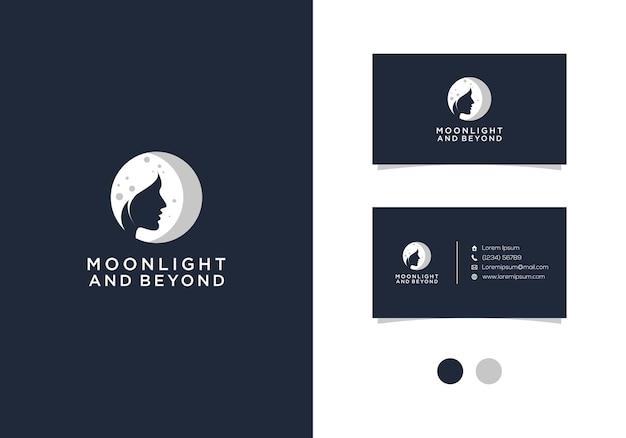 Création De Logo Au Clair De Lune Et Au-delà Avec Carte De Visite Vecteur Premium
