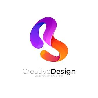 Création de logo b et vecteur de style simple et coloré en 3d