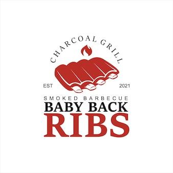 Création logo barbecue grill vector fumée viande