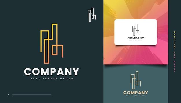 Création de logo de bâtiment abstrait avec style de ligne pour l'identité de l'industrie immobilière. création de logo de construction, d'architecture ou de bâtiment