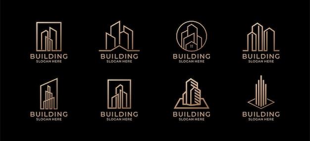 Création de logo de bâtiment de collection pour l'architecture, la construction, l'immobilier, la propriété.