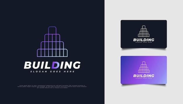 Création de logo de bâtiment coloré avec concept linéaire pour l'industrie immobilière.
