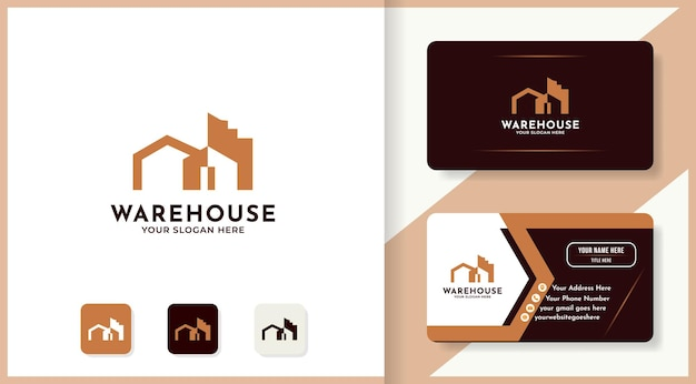 Création de logo de bâtiment d'entrepôt et carte de visite